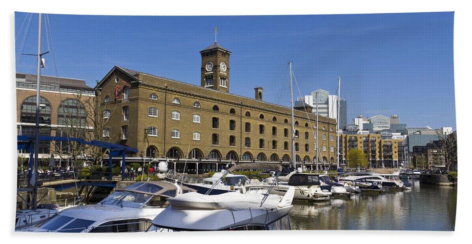 River Thames Beach Towel featuring the photograph St Katherines Dock London by David Pyatt