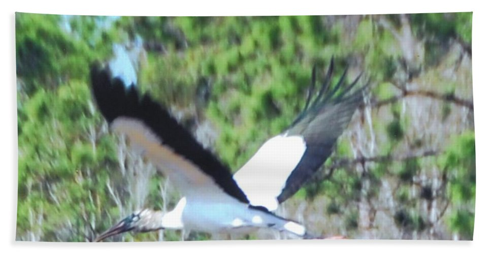 In Full Flight Beach Towel featuring the photograph Wood Stork by Robert Floyd