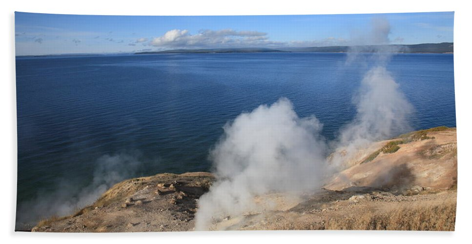 America Beach Towel featuring the photograph Yellowstone Lake And Geysers by Frank Romeo