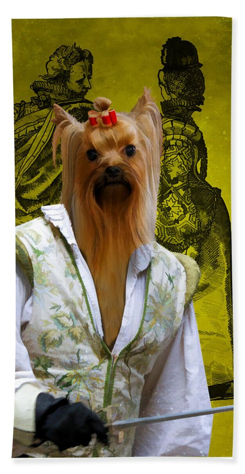 Yorkie Beach Towel featuring the painting Yorkshire Terrier Art Canvas Print by Sandra Sij