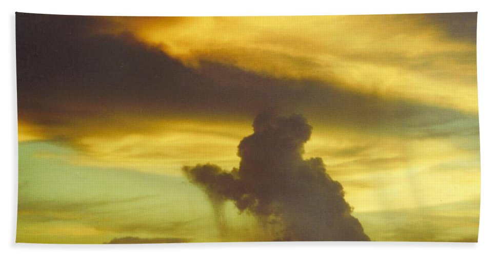 Rare Green Sky And Gold Clouds Beach Towel featuring the photograph Sky Scape by Robert Floyd