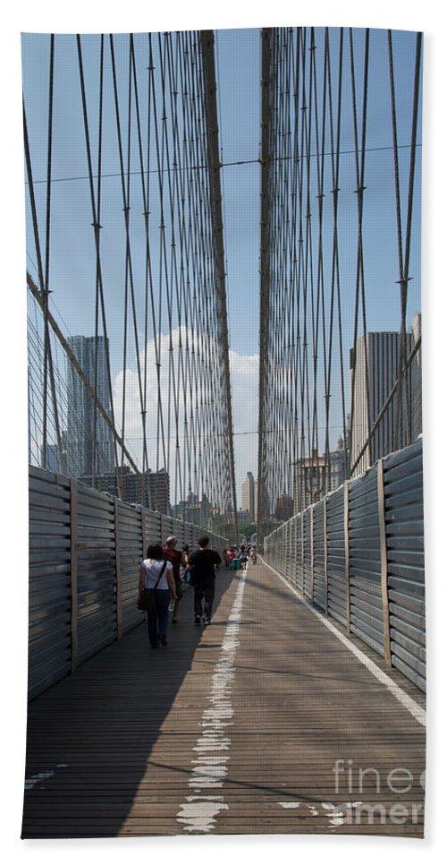 Brooklyn Beach Towel featuring the digital art Brooklyn Bridge by Carol Ailles