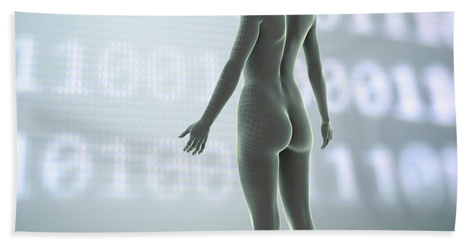 3d Visualisation Beach Towel featuring the photograph Digital Being by Science Picture Co