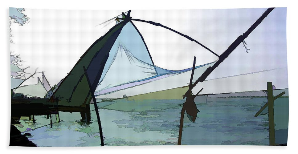 Action Beach Towel featuring the digital art Fishing Nets On The Sea Coast In Alleppey by Ashish Agarwal