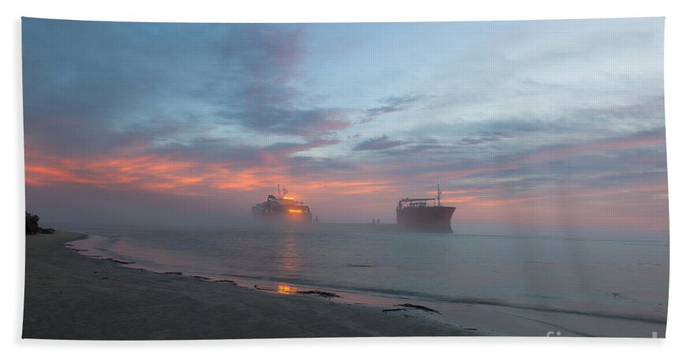 Sunset Beach Towel featuring the photograph Ghost Ship by Dale Powell