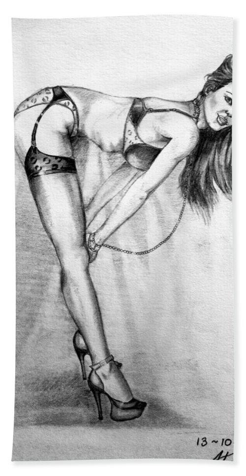 Model Beach Towel featuring the drawing Model by Alban Dizdari