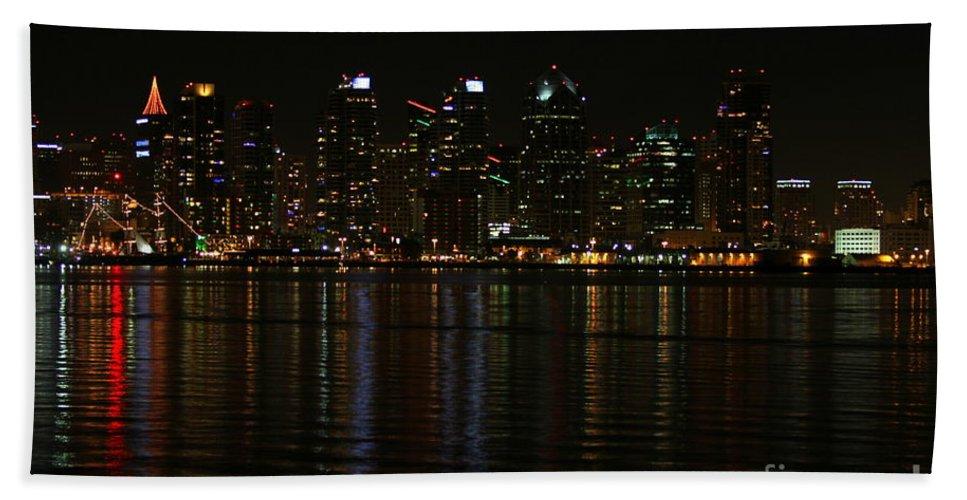 San Diego Beach Towel featuring the photograph San Diego Skyline Night by Henrik Lehnerer
