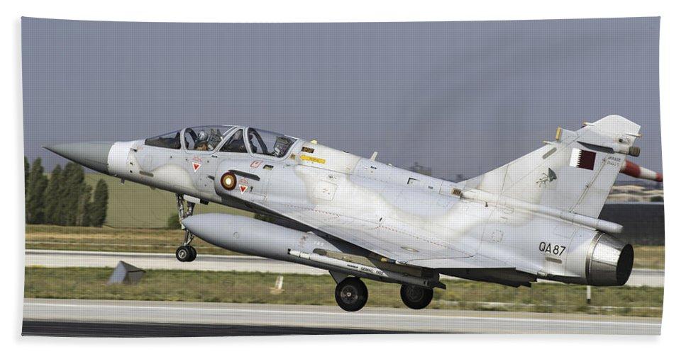 Military Beach Towel featuring the photograph A Qatar Emiri Air Force Mirage by Daniele Faccioli