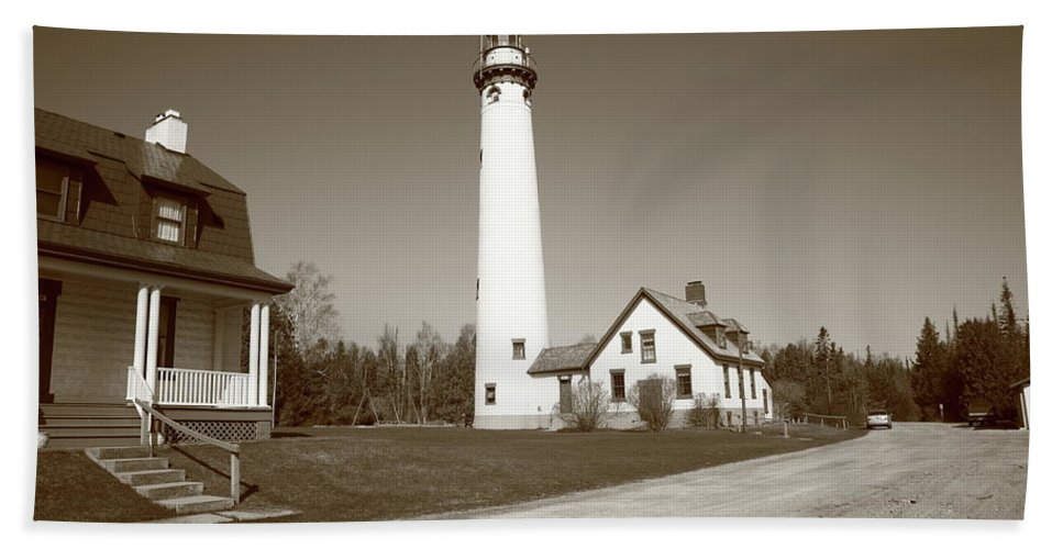 America Beach Towel featuring the photograph Lighthouse - Presque Isle Michigan by Frank Romeo
