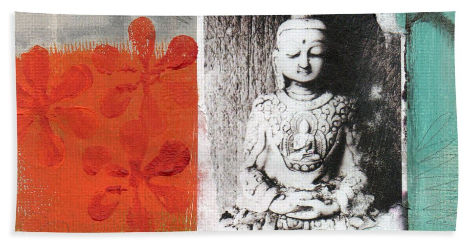 Buddha Beach Towel featuring the painting Namaste by Linda Woods