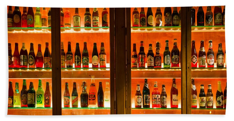 Amber Beach Towel Featuring The Photograph 99 Bottles Of Beer On Wall By Semmick Photo