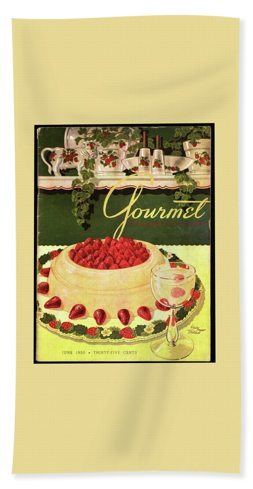 Entertainment Beach Towel featuring the photograph A Blancmange Ring With Strawberries by Henry Stahlhut