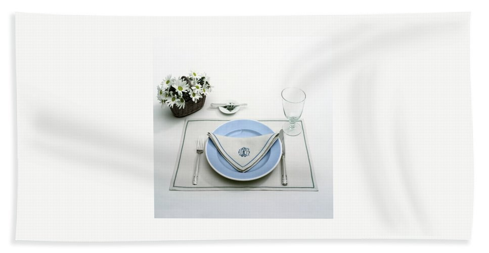 Utensils Beach Sheet featuring the photograph A Blue Table Setting by Haanel Cassidy