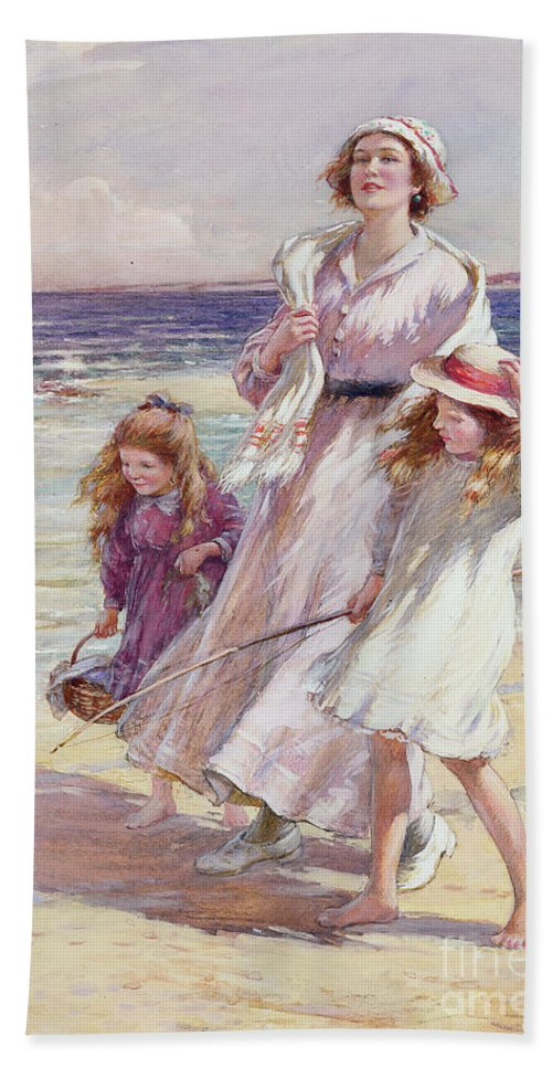 Beach Beach Towel featuring the painting A Breezy Day At The Seaside by William Kay Blacklock
