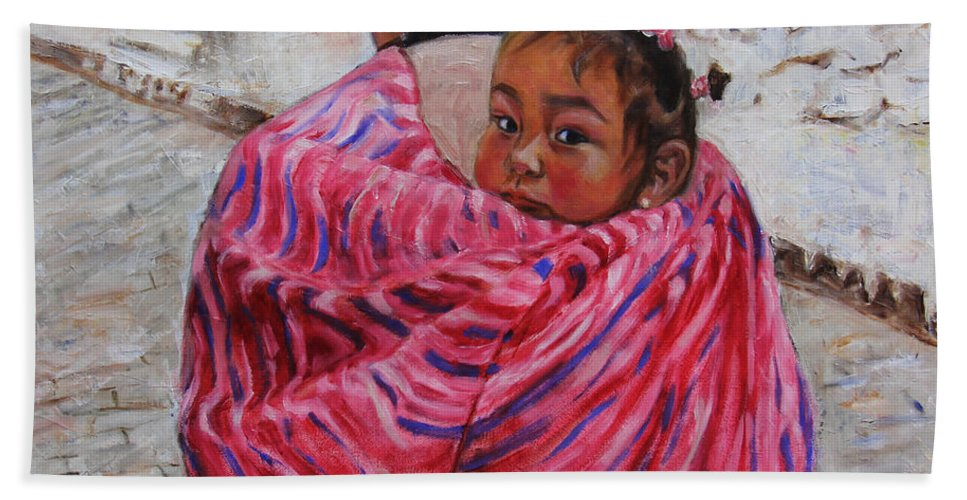 Portrait Beach Towel featuring the painting A Bundle Buggy Swaddle - Peru Impression IIi by Xueling Zou