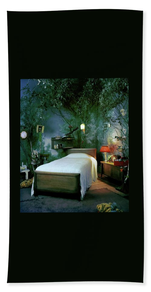 Bedroom Beach Sheet featuring the photograph A Child's Bedroom Designed By William Riva by Otto Maya