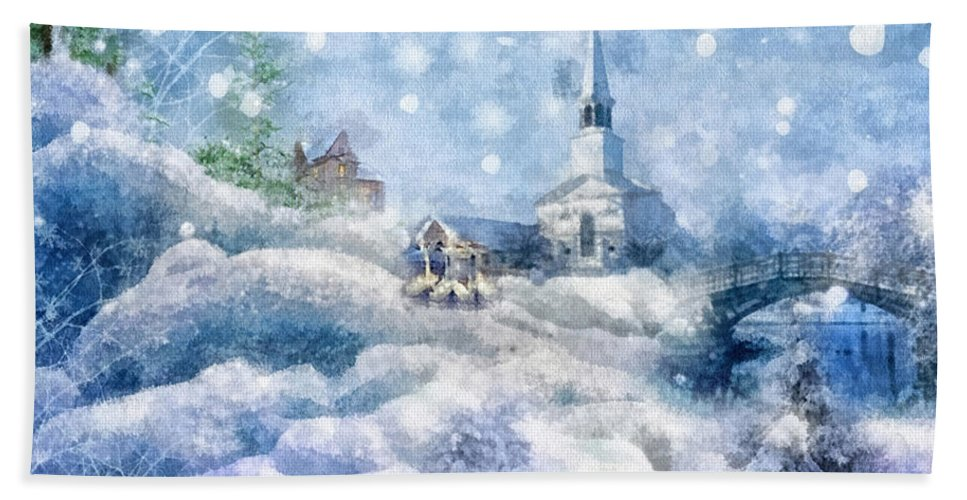 A Christmas To Remember Beach Towel featuring the painting A Christmas To Remember by Mo T