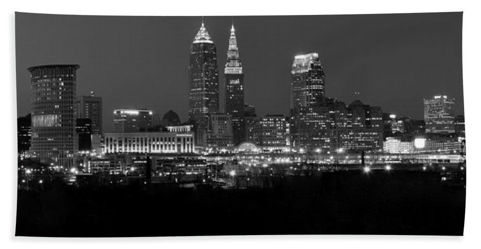 Abstract Beach Towel featuring the photograph A Cleveland Black And White Night by Frozen in Time Fine Art Photography