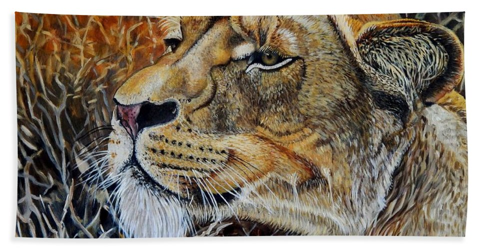 Lion Beach Towel featuring the painting A Curious Lioness by Caroline Street