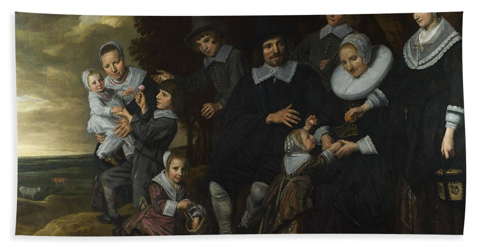 Frans Hals Beach Towel featuring the painting A Family Group In A Landscape by Frans Hals