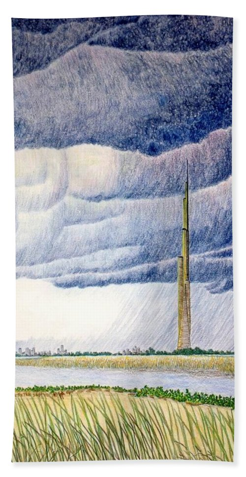 Landscape Beach Towel featuring the painting A Finger to the Sky by A Robert Malcom