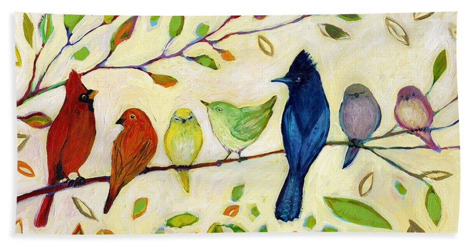 Bird Beach Towel featuring the painting A Flock of Many Colors by Jennifer Lommers
