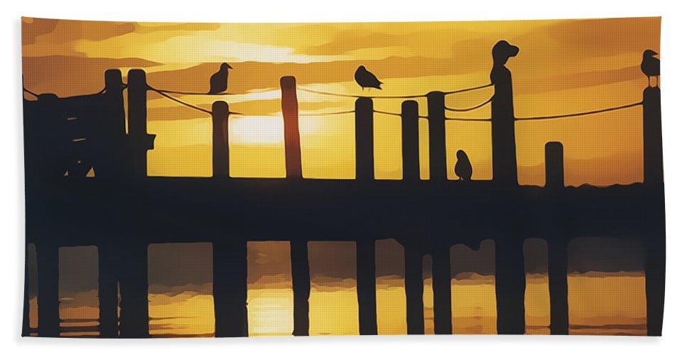 America Beach Towel featuring the digital art A Flock Of Seagulls by Roy Pedersen