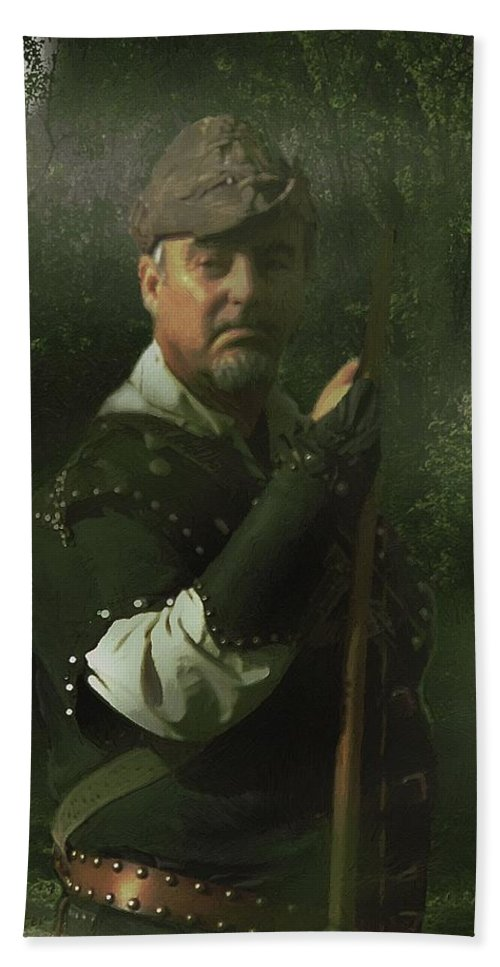 Portrait Beach Towel featuring the painting A Foggy Night In Sherwood by RC DeWinter