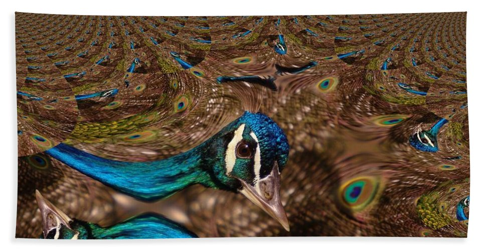 Birds Beach Towel featuring the photograph A Fractual Peacock by Jeff Swan