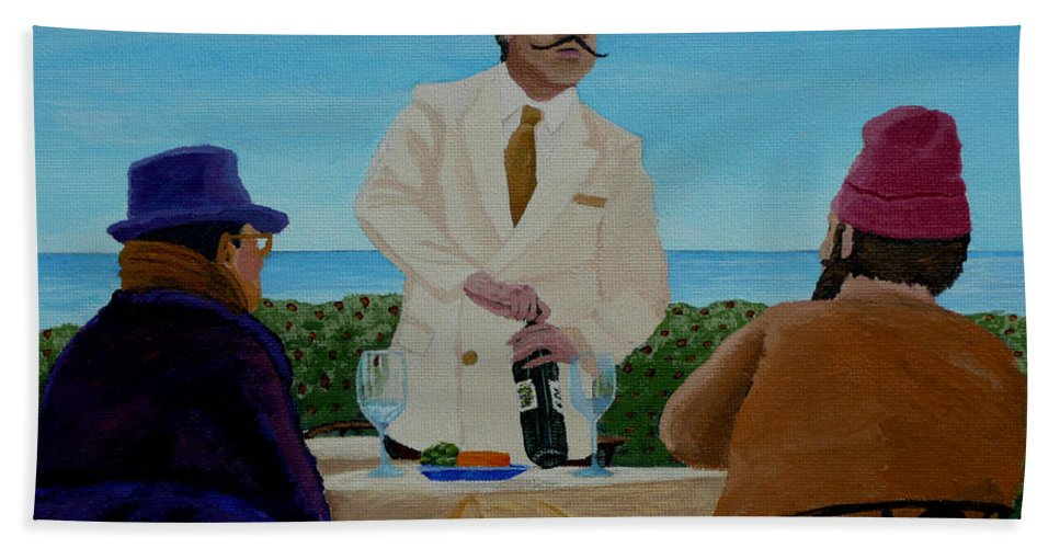 Wine Beach Towel featuring the painting A Fresh Bottle by Anthony Dunphy