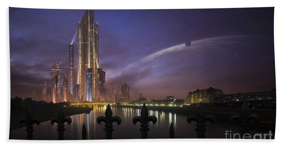 Horizontal Beach Towel featuring the digital art A Futuristic City On An by Tobias Roetsch