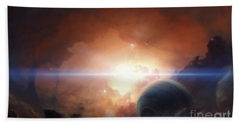 Horizontal Beach Towel featuring the digital art A Gas Giant Partly Hidden In A Nebula by Tobias Roetsch