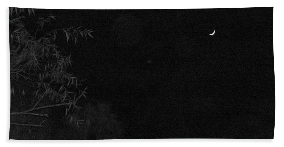 Black And White Beach Towel featuring the photograph A Ghostly Crescent Moon by Terry Cobb