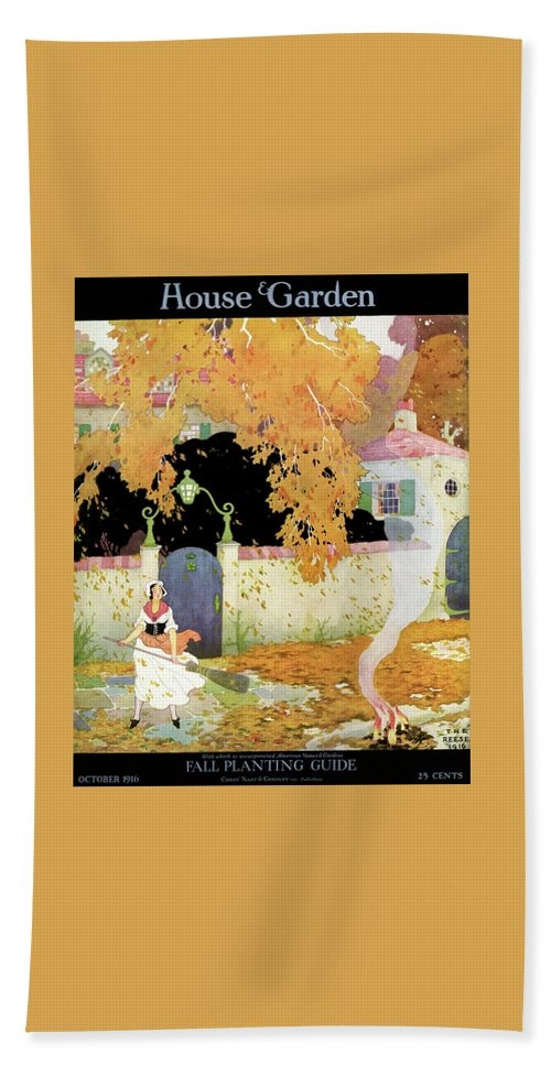 House And Garden Beach Towel featuring the photograph A Girl Sweeping Leaves by The Reeses