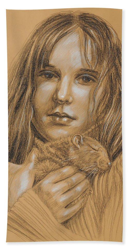 Girl Beach Towel featuring the drawing A Girl With The Pet by Irina Sztukowski