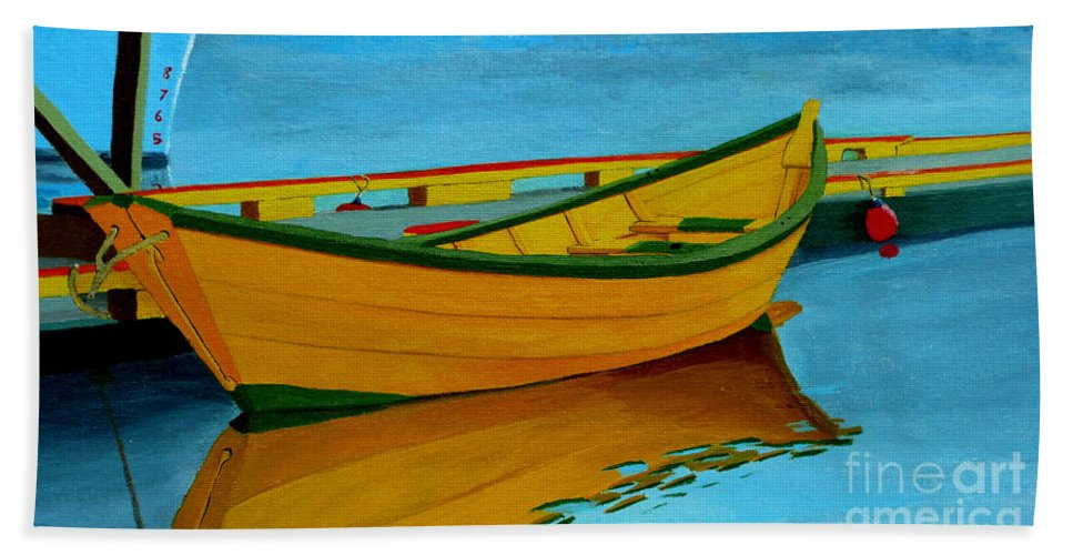 Grand Banks Beach Towel featuring the painting A Grand Banks Dory by Anthony Dunphy