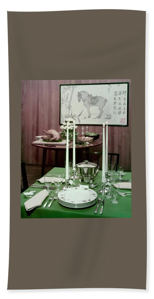 Indoors Beach Towel featuring the photograph A Green Table by Wiliam Grigsby
