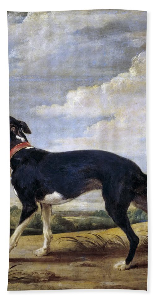 Paul De Vos Beach Towel featuring the painting A Greyhound Lurking by Paul de Vos