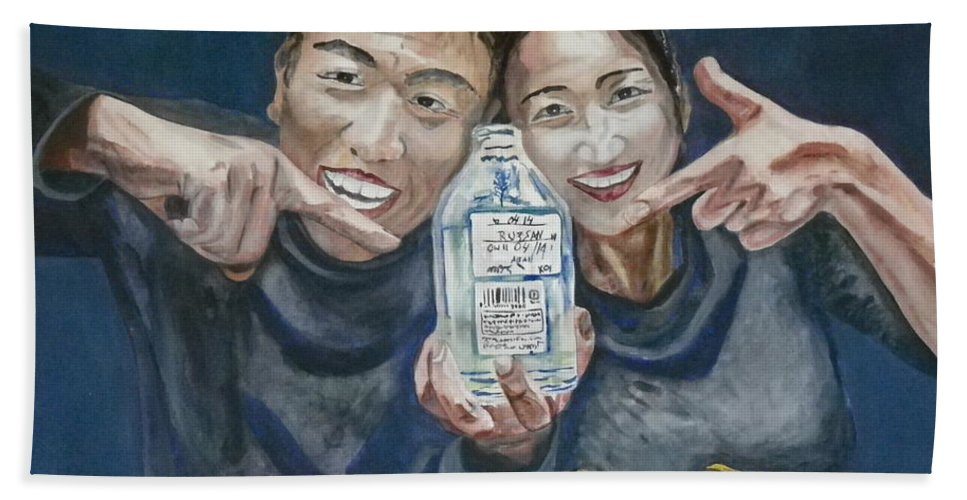 Tokyo Beach Towel featuring the painting A Happy Birthday by Anna Ruzsan