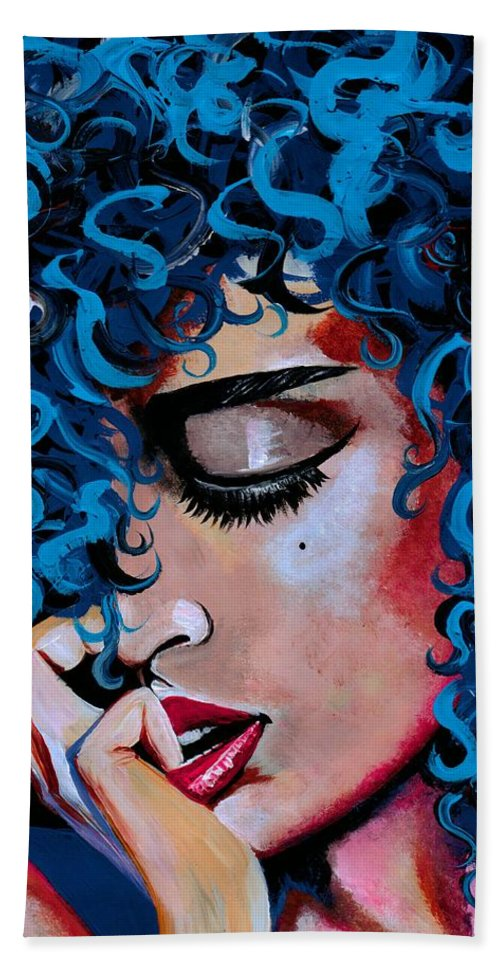 Model Beach Towel featuring the photograph A Happy Woman is a Satisfied Woman by Artist RiA