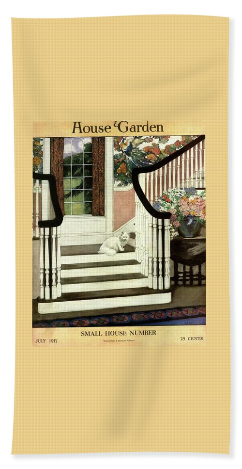 Animal Beach Sheet featuring the photograph A House And Garden Cover Of A Cat On A Staircase by Ethel Franklin Betts Baines