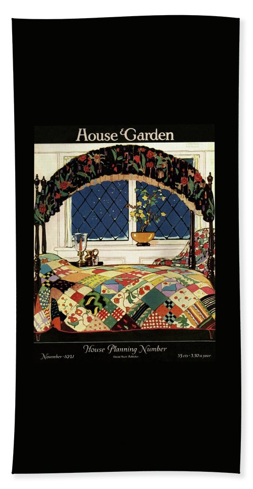 Illustration Beach Towel featuring the photograph A House And Garden Cover Of A Four-poster Bed by Clayton Knight