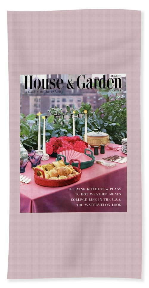Travel Beach Towel featuring the photograph A House And Garden Cover Of Al Fresco Dining by Wiliam Grigsby