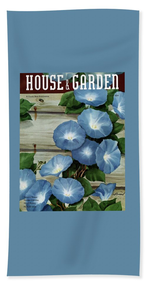 Illustration Beach Towel featuring the photograph A House And Garden Cover Of Flowers by Carl Broemel