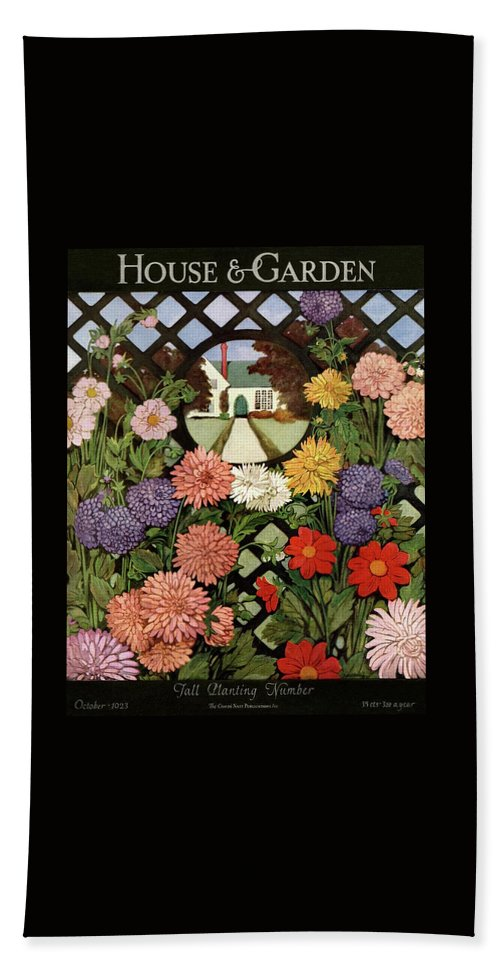 Illustration Beach Sheet featuring the photograph A House And Garden Cover Of Flowers by Ethel Franklin Betts Baines