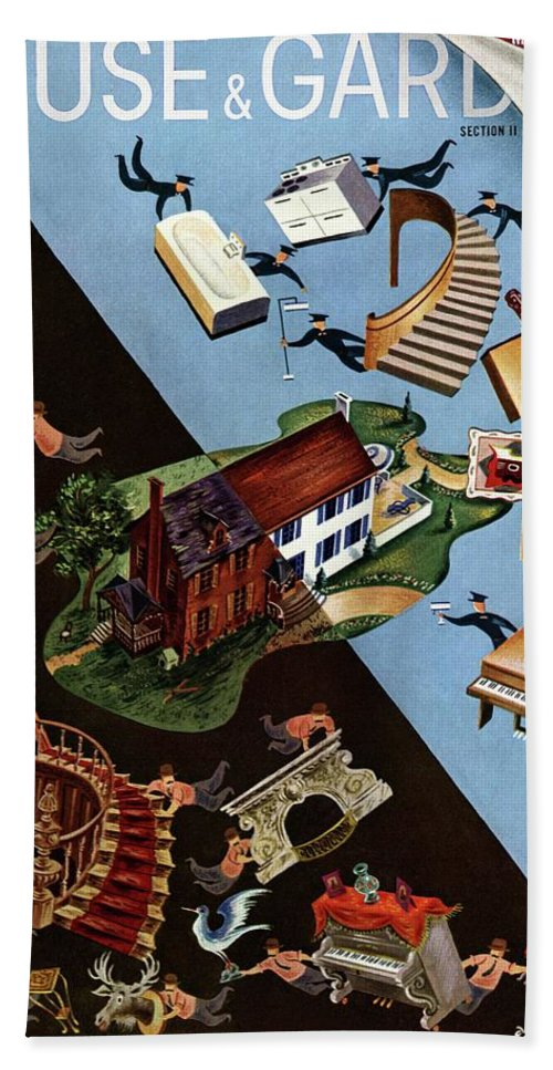 Illustration Beach Sheet featuring the photograph A House And Garden Cover Of People Moving House by Constantin Alajalov