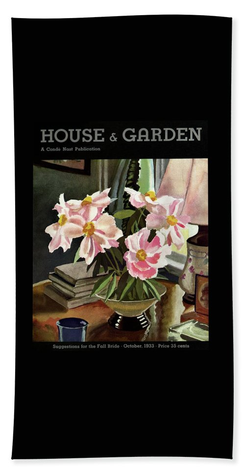 Illustration Beach Towel featuring the photograph A House And Garden Cover Of Rhododendrons by David Payne