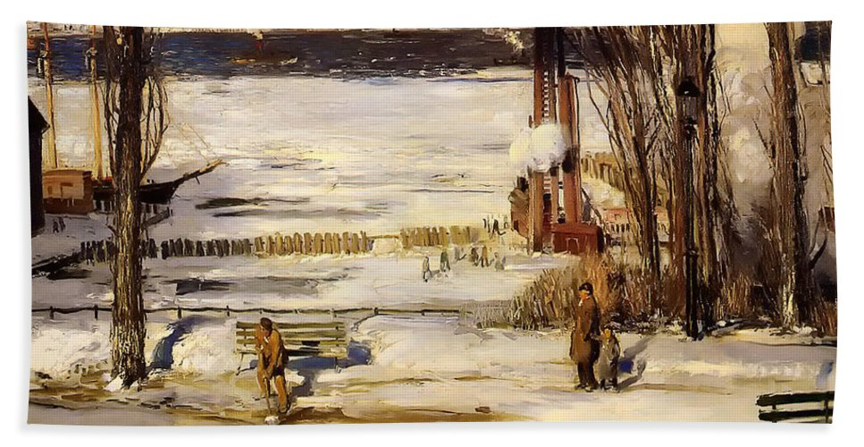 Hudson River Beach Towel featuring the painting A Morning Snow On The Hudson River by Mountain Dreams