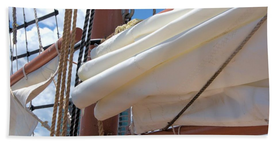 Tall Ship Beach Towel featuring the photograph A Nice Pile Of Sail by Valerie Kirkwood