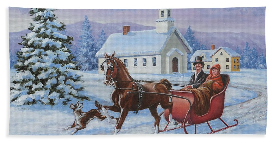 A One Horse Open Sleigh Beach Towel For Sale By Richard De Wolfe